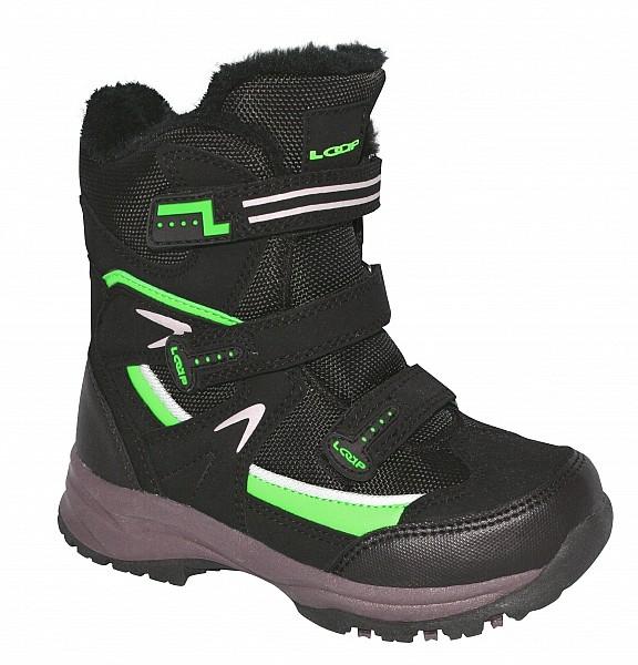 boty dětské LOAP MAREO zimní černo zelené  69ff53c026
