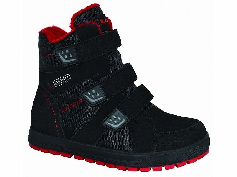 boty dětské LOAP MANIC zimní černo červené  21b22c4f80