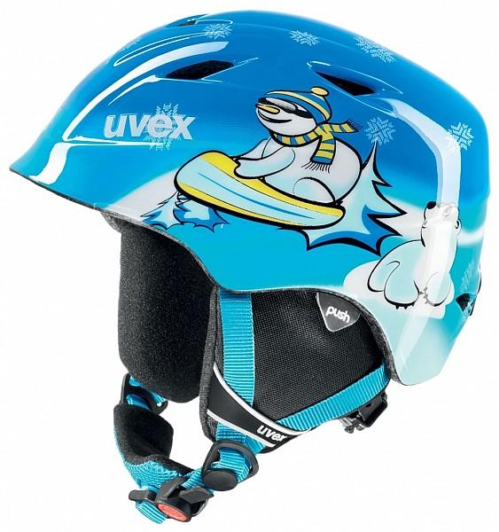přilba lyžařská UVEX AIRWING 2 modrá/sněhulák 48-52